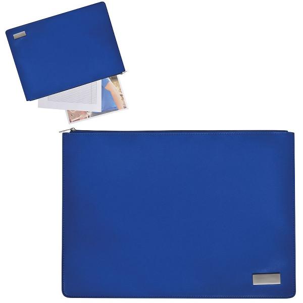 """Папка на молнии """"Конференция"""" , формат А4,  иск. кожа, синий, шильд, лазерная гравировка"""