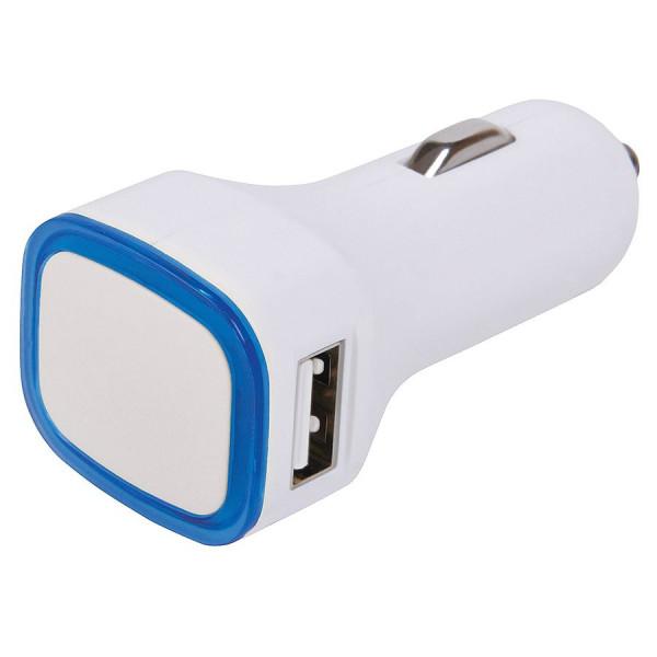 """Автомобильное зарядное устройство с подсветкой и двумя USB-портами """"Mobicar"""",6,8х2,2x3,1см, пластик"""