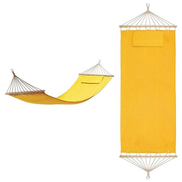 """Гамак с подушкой  """"МАЙАМИ"""" ,  в сумке ; желтый; 200х80см;  хлопок, дерево, шелкография"""
