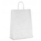 Крафт пакет бумажный 20х18х8 белый с кручеными ручками