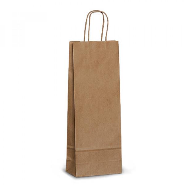 Крафт пакет бумажный 31х15х8 коричневый с кручеными ручками, под бутылку