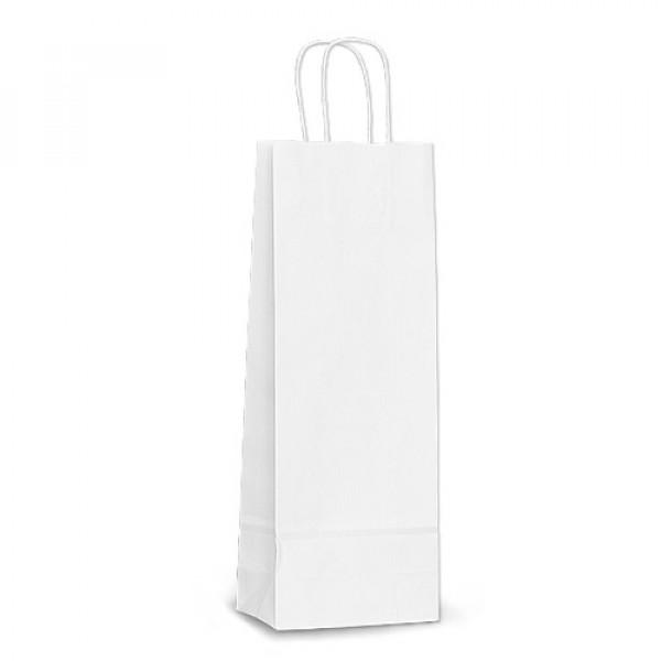 Крафт пакет бумажный 39,5х15х8 белый с кручеными ручками, под бутылку